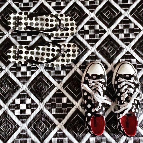 Shoe Pattern Pattern, Texture, Shape And Form Patterns & Textures Polka Dots  Polkadots Shoes Black And White Red Colorsplash Interior No People
