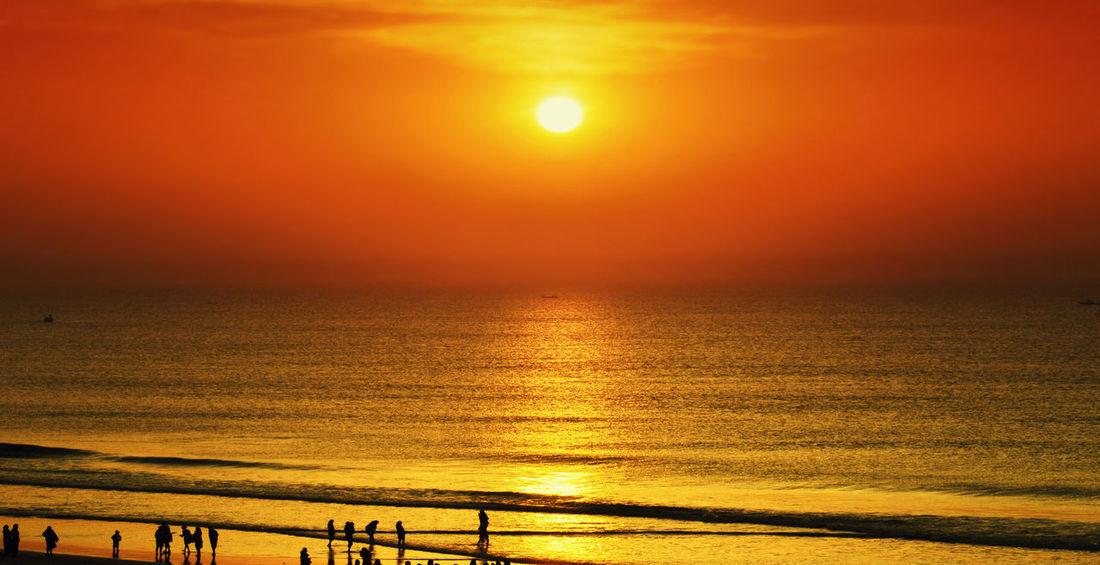 sunset at puri Nature Orange Color Scenics Sea Sun Sunlight Sunset Tranquil Scene Tranquility