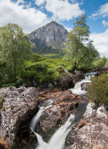 Buchaille Etive Mor Etive Mor Glencoe Riverside Scotland Sky And Clouds Tree Trees Highlands Long Exposure River Sky Trees And Sky Water Waterfall Waterfalls