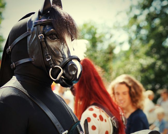 Close-up of person in horse costume