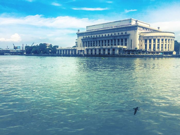 Sky Clear Sky Riverside River Pasig River Manila Manila Post Office Water Architecture Building Exterior Built Structure Sky City Cloud - Sky Waterfront Day Bird Outdoors