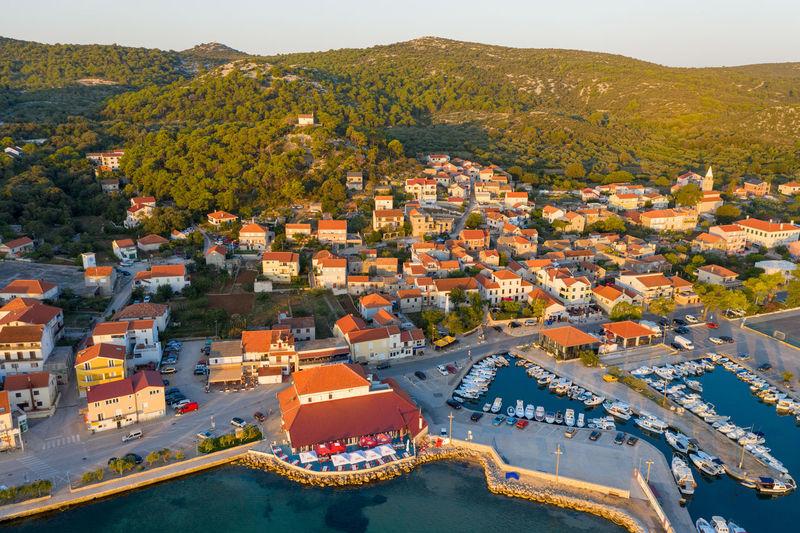 Aerial view of tkon town on pasman island, croatian adriatic