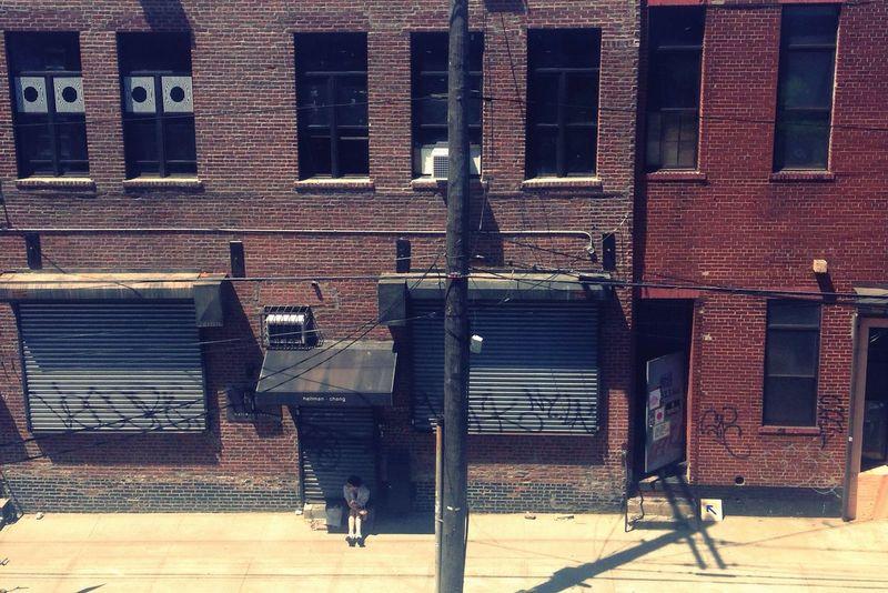 Please, Edward Hopper, paint it. Brooklyn Lonely Shadow Lights And Shadows Wall From Above  Industrial Brickstones This Week On Eyeem Melancholy Loneliness Edward Hopper The City Light The Architect - 2017 EyeEm Awards