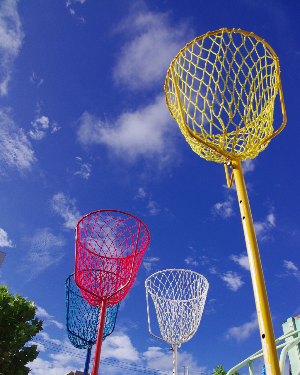 Low Angle View Of Multi Colored Basket Against Sky