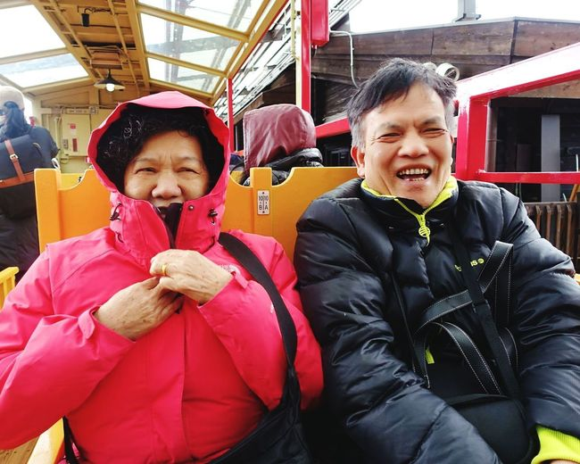 Happy moment! 於嵐山小火車上。 Parent Winter Cold Happiness Couple - Relationship Cheerful Outdoors Real People Togetherness Warm Clothing Looking At Camera Front View Two People Childhood