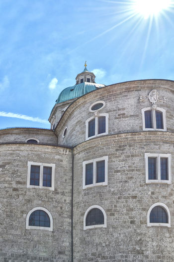 Domes of Salzurg Architecture Austria Blue Building Exterior Built Structure Cloud - Sky Day Dome Low Angle View No People Outdoors Place Of Worship Religion Salzburg Sky Spirituality Sunlight Window