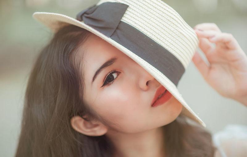 Close-up of beautiful woman