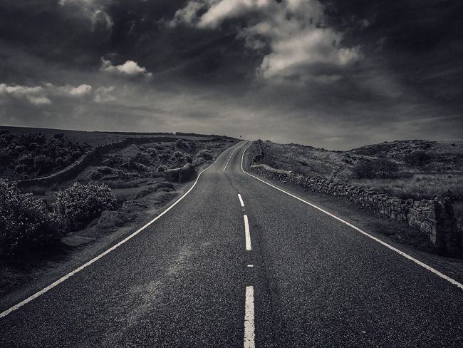 Road Sky Cloud - Sky No People Scenics Outdoors Tranquility Landscape Beauty In Nature IPhone Photography The Way Forward Tadaa Community Black & White Fortheloveofblackandwhite Dartmoor Exploring Blackandwhite