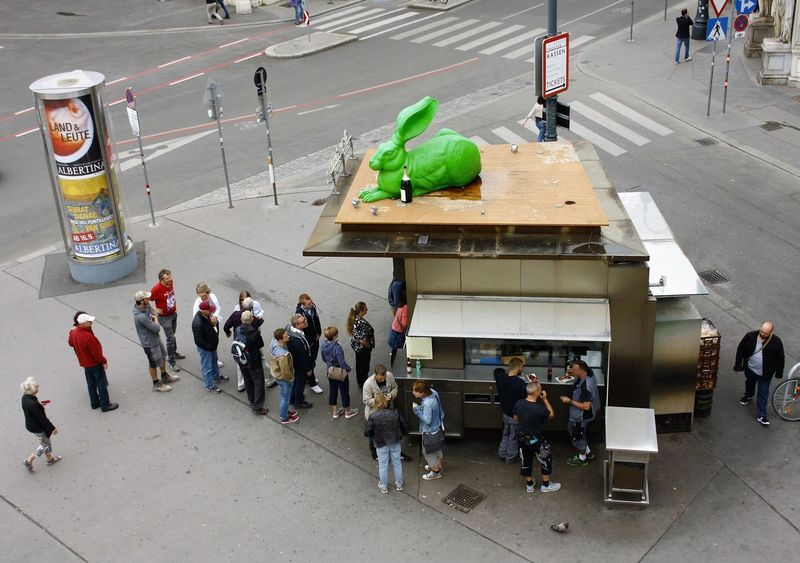 City Day Fromabove High Angle View Street Vienna Wien Zerozomermissies2016 Line up for Bitzinger's sausage stand at Albertina