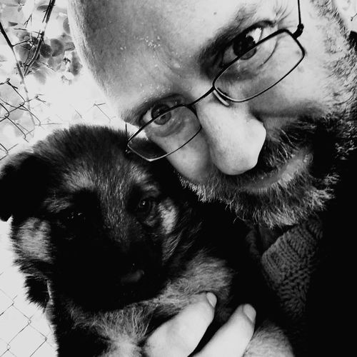 Eyeglasses  Pets Dog One Animal One Person Domestic Animals Only Men One Man Only Real People Friendship Adult People Men Human Face Portrait Day Dog Portrait Animal Head  Animal Dogs Dogphoto Looking At Camera Doggy Dogoftheday Dog❤