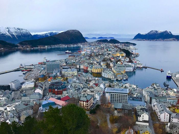 Ålesund, Norway Ålesund, Norway Norway Water Sky Nature City Sea Architecture No People Day High Angle View Outdoors Scenics - Nature Land Mountain Beauty In Nature