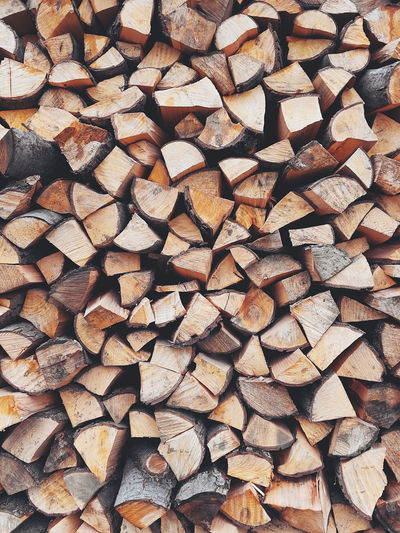 Full frame background of a chopped fireplace tree