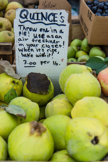 Close-up of quinces for sale at market