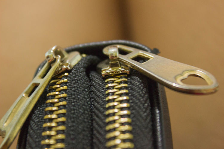 Extreme close-up of black purse