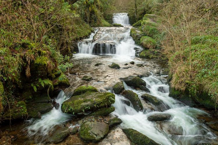 Long exposure of the big waterfall at watersmeet in devon