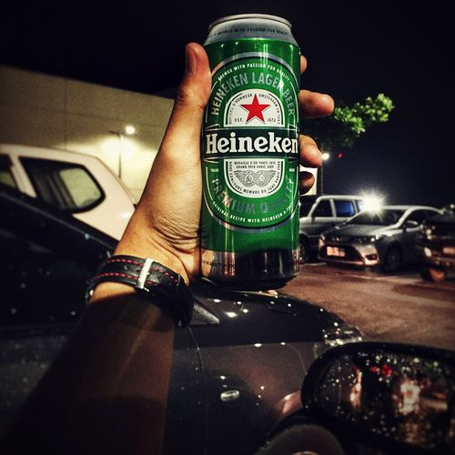 Beer Outdoors Night Heineken Focus EyeEmNewHere EyeemPhilippines IPhoneography Nightlife Close-up Human Hand POTD