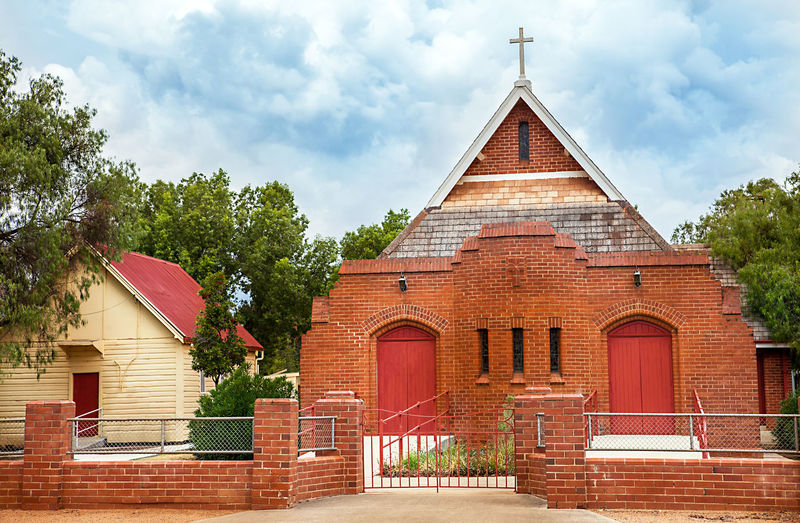 Australia Church Outback Trangie Architecture Building Exterior Built Structure Day No People Outback Australia Outdoors Place Of Worship Religion Sky Tree