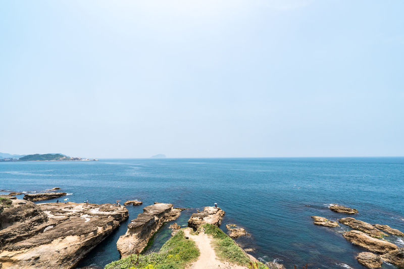 Sea Water Sky Scenics - Nature Beauty In Nature Tranquil Scene Horizon Over Water Tranquility Horizon Copy Space Rock Nature Day Rock - Object Land Beach Clear Sky No People Solid Outdoors Rocky Coastline
