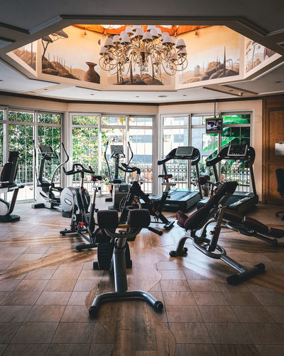 Indoors  Flooring Empty Wood Absence No People Hardwood Floor Window Day Seat Table Glass - Material Wood - Material Business Ceiling Sports Training Sport Chair Lifestyles Lighting Equipment Luxury Gym Sports Workout