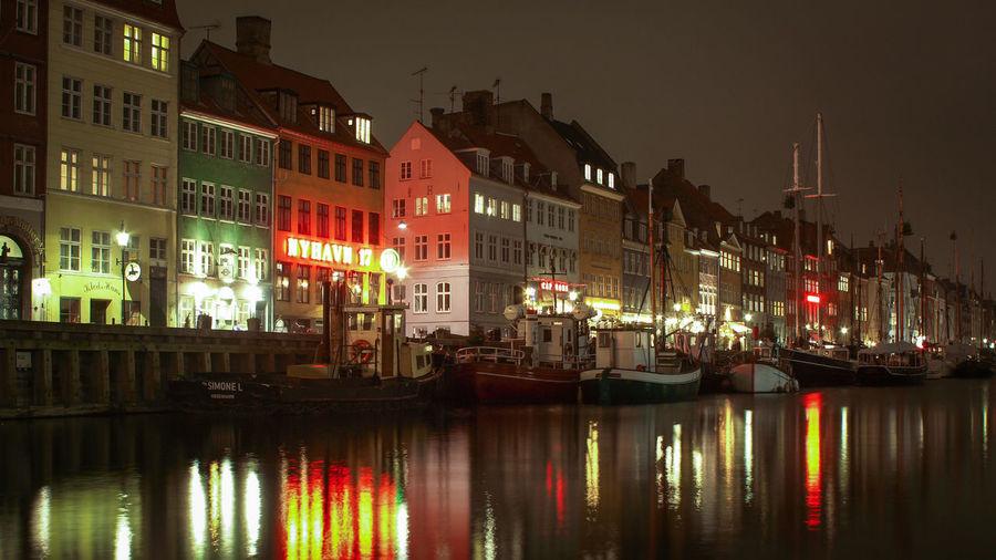 Boats Copenhagen Harbour Night Nightphotography Nyhavn Reflections Water