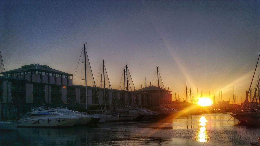 Sunset in Genova Sun Nautical Vessel Boat Sunlight Harbor Outdoors Tranquility Sea Sunny Sky Tranquil Scene Water Sunbeam