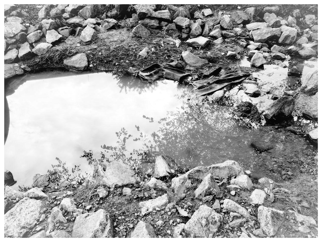 HIGH ANGLE VIEW OF LAKE WITH ROCKS