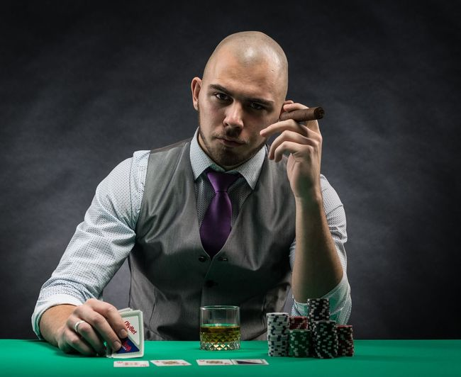 poker is serious business Poker Night Whiskey Estonia Bald Gambling Men Gambling Chip Poker - Card Game Shaved Head People Sitting Strategy Cards