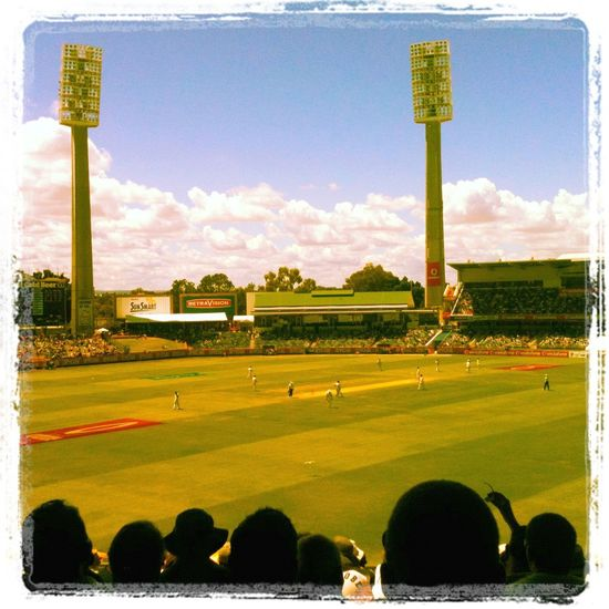 Australia Cricket Floodlight Great View Green Field Outdoors Perth Pitch Stadium Summer Waca