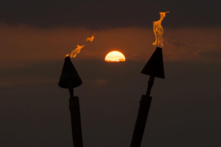 Hawaii Burning Close-up Fire Flame Illuminated Nature Night No People Orange Color Outdoors Sky Sunset Luau Hawaii Life