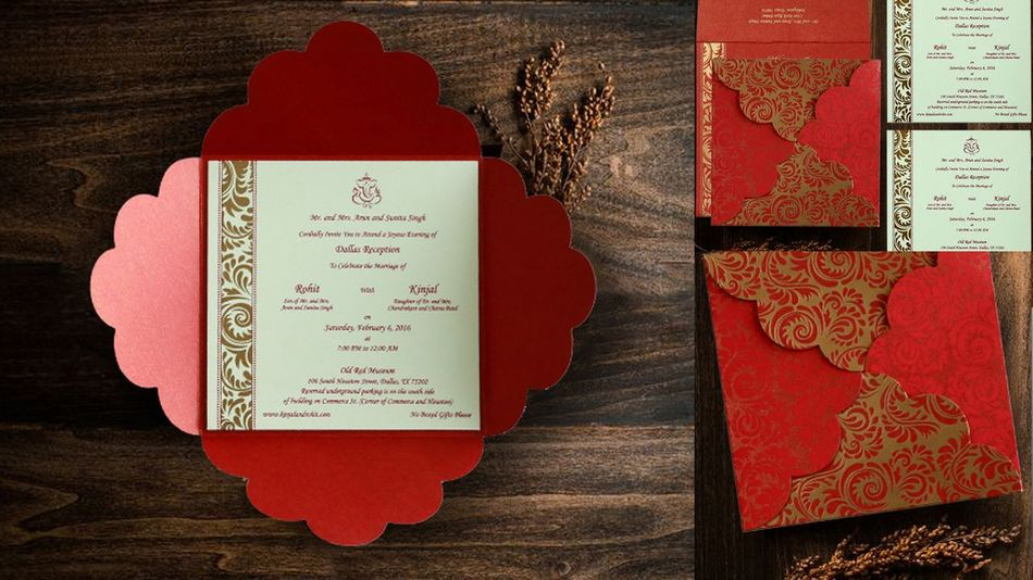 "Product details World-Wide Shipping Card Code:- CD-8235C Type:- Wedding Invitation Size:- 6.50"" X 6.50"" Card Color:- Red Inserts Color: Ivory Color Invitation Paper Type:- Shimmer Paper Insert Paper Type:- Matt Paper Process:- Silk Screen Printing Theme:- Floral Designer Wedding Invitations Floral Theme Wedding Invitations Floral Theme Wedding Invites IndianWeddingCards Wedding Cards"