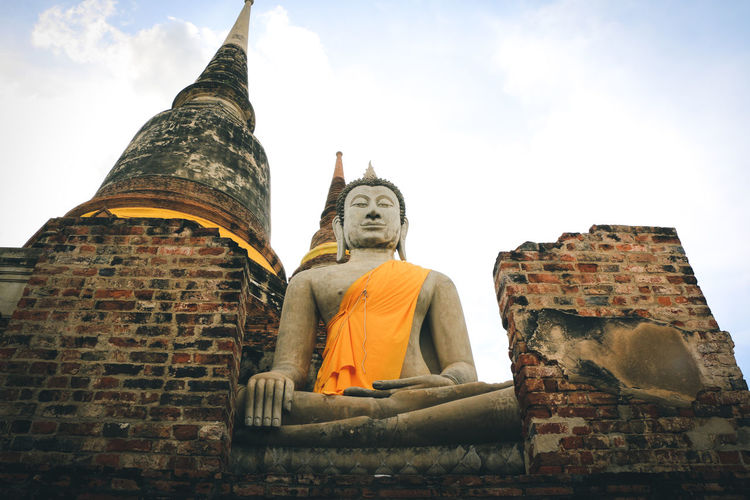 Buddha Quote Architecture Architecture Ayutthaya Built Structure Civilization Culture Gold Colored Low Angle View Place Of Worship Religion Sky Spirituality Statue Traveltheworld