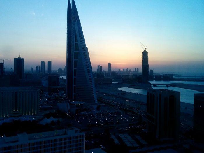 Skyscraper World Trade Center Panorama Sunset Dusk Manama Bahrain