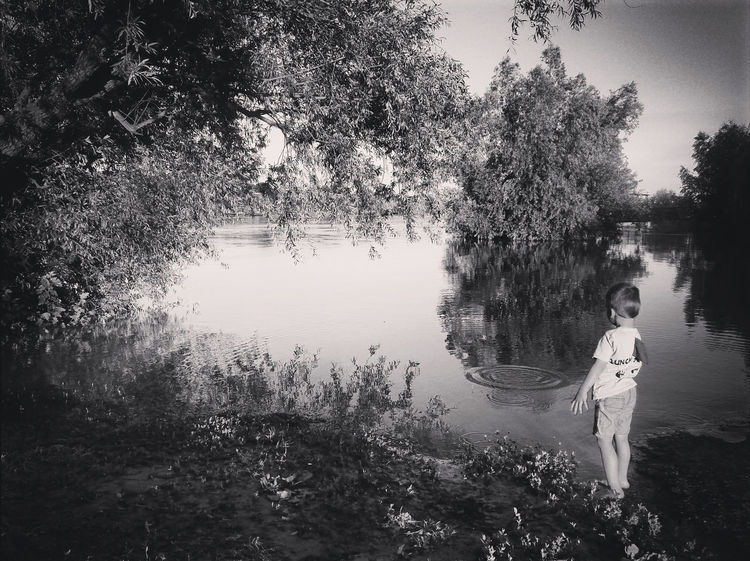 Black & White Black And White Black&white Blackandwhite Blackandwhite Photography Bw Child Childhood Idillic Nature Nature Outdoors River Scenics Tree Water Water Reflections Young
