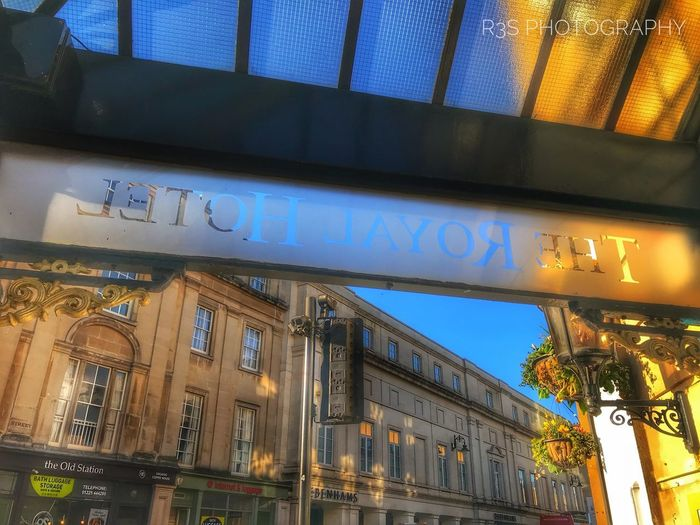 Royal Hotel Bath Architecture Built Structure Building Exterior Illuminated No People Low Angle View Outdoors City Sky