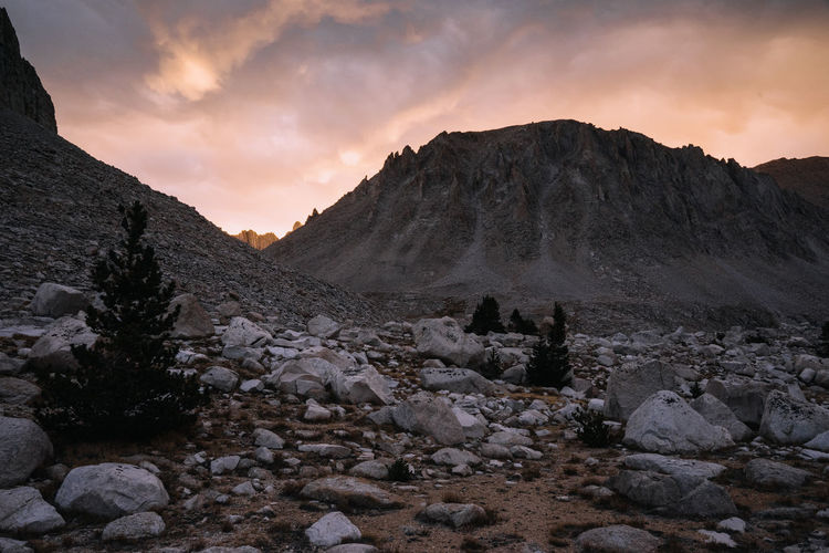 Sunset Mountains Mountain Range Evening Sun Pink Sky Pink Sunset Pink Sunset Clouds John Muir Trail Pacific Crest Trail High Sierra Sierra Nevada Mountains California Hiking Sky Scenics - Nature Cloud - Sky Tranquil Scene Beauty In Nature Mountain Rock Tranquility Non-urban Scene Environment Solid Rock - Object Rock Formation Nature Arid Climate Formation Landscape No People Idyllic Remote