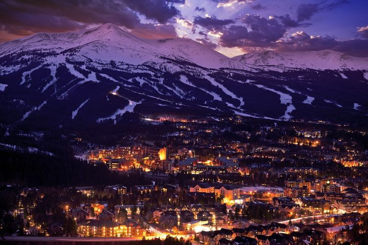 Breckenridge Winter Sunset. The Town of Breckenridge Was Formally Created in November 1859. Colorado Photo Collection. Mountain Building Exterior Architecture Night City Cityscape Sky Built Structure Illuminated No People Beauty In Nature Mountain Range Environment Cloud - Sky Scenics - Nature Nature Building Outdoors High Angle View Landscape TOWNSCAPE Snowcapped Mountain Breckenridge Colorado
