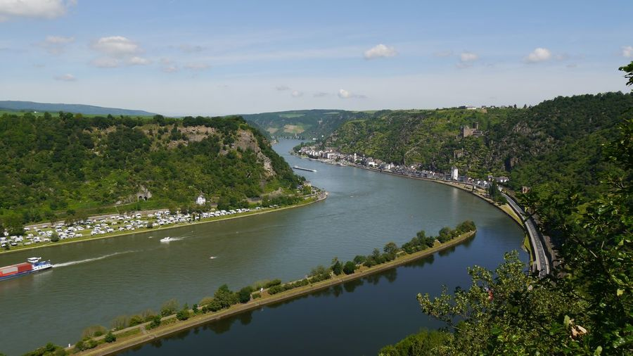 High angle view to rhine river in city against sky at loreley