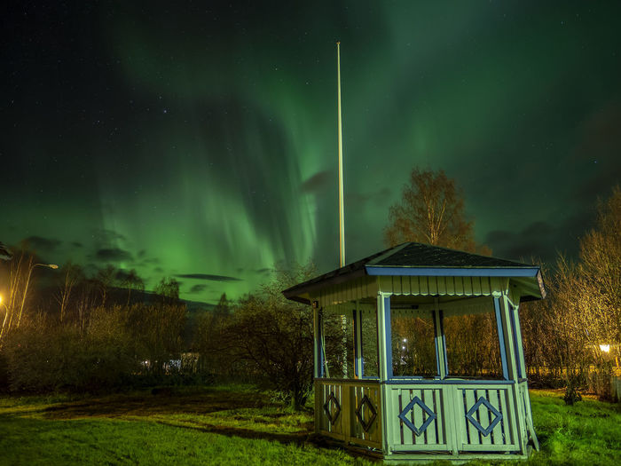 Aurora over Ånge, Sweden Aurora Borealis Northern Lights Trees Olympus OM-D E-M10 Mark II Nightphotography Nightshot Night Illuminated Built Structure Star - Space Green Color Building Exterior Beauty In Nature Scenics - Nature Astronomy