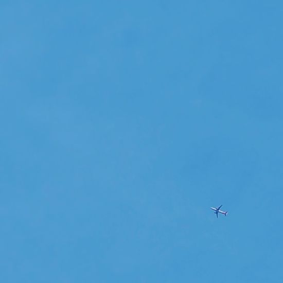 Plane in the sky Flying Airplane Transportation Clear Sky Blue Sky Outdoors Day