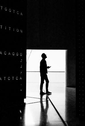 Full Length One Person Silhouette Indoors  Real People Men Standing Day Architecture One Man Only People Brazil Rio De Janeiro Museum Shades Shades Of Grey Letters Contrast Walking Around Blackandwhite Black & White Black And White Shadow Shadows & Lights Door Colour Your Horizn