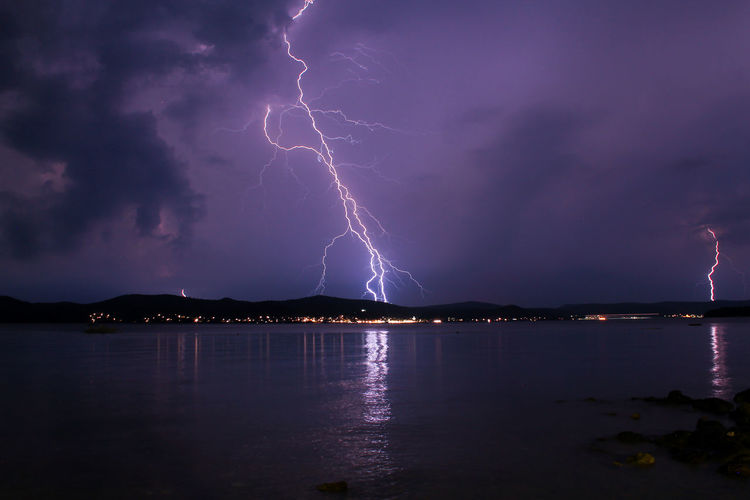 Lightning in front with reflection on the water Croatia Danger Lightning Lightning Bolt Lightning Storm Longexposure Longexposurephotography Nature Nature Photography Night Nightphotography Outdoors Sea Sea And Sky Storm Storm Cloud Stormy Weather Thunder Thunderstorm Travel Travel Destinations
