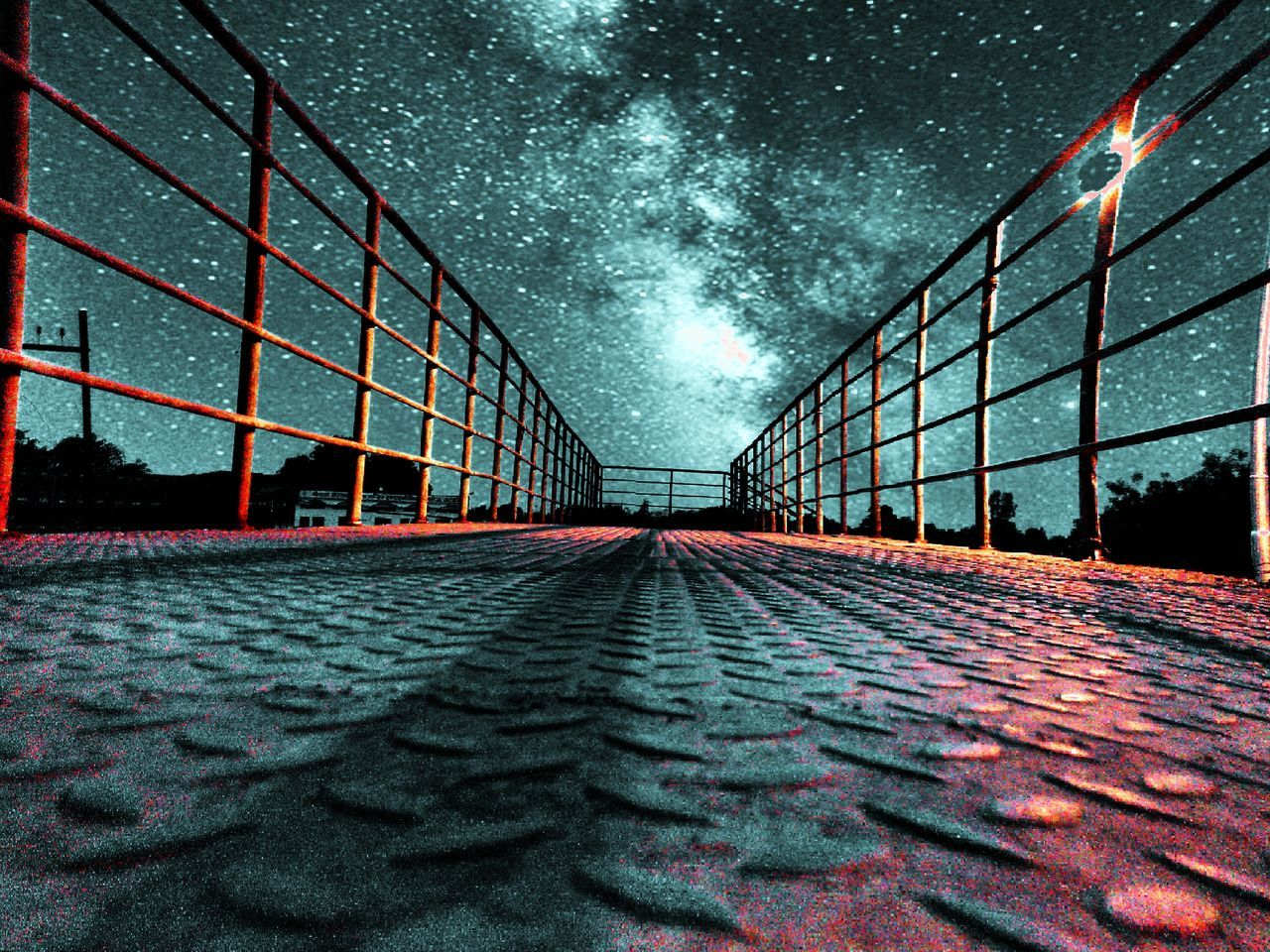 night, star - space, space, sky, the way forward, astronomy, bridge - man made structure, galaxy, illuminated, architecture, no people, built structure, outdoors, clear sky, water, snow, nature
