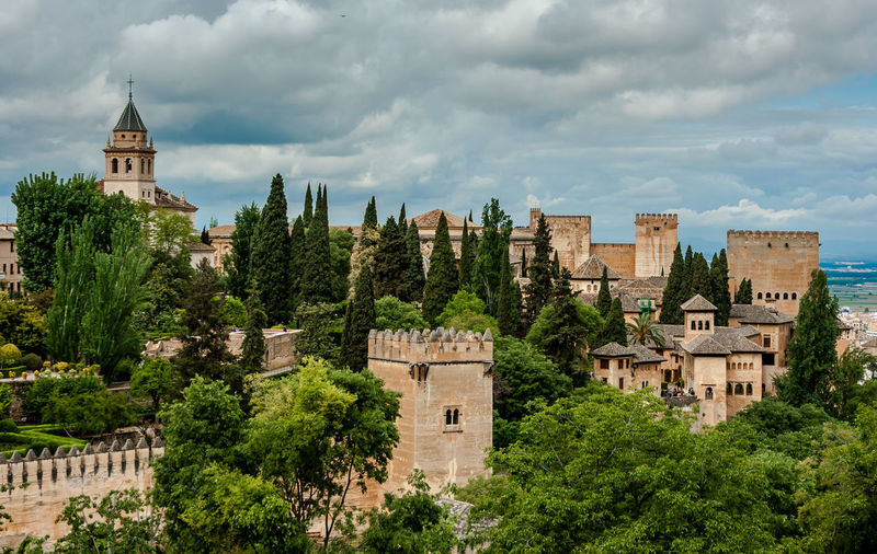 The alhambra palace in granada, spain on a cloudy day