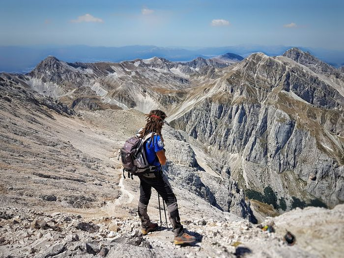 Corno Grande Gran Sasso D'Italia Activity Adventure Backpack Beauty In Nature Climbing Environment Exploration Hiking Landscape Lifestyles Mountain Mountain Range Nature Non-urban Scene One Person Outdoors Rock Scenics - Nature Travel EyeEmNewHere