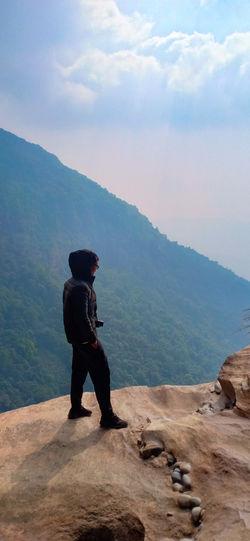 me Full Length Mountain Sky Landscape
