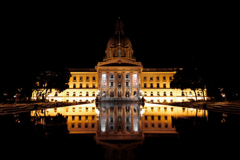 Canada Politics And Government City Illuminated Water Government Dome Façade Reflection Architecture Sky Reflecting Pool Palace Past Royalty Pavilion Symmetry
