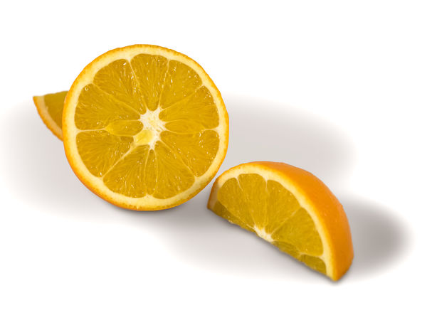 An orange cut in to segments Citrus Fruit Clipping Path Cut Out Food Food And Drink Freshness Fruit Healthy Eating Orange - Fruit SLICE Studio Shot White Background
