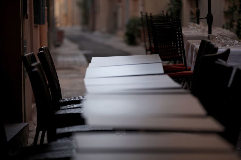 Outdoors Table In A Row No People Close-up Pew Day St.Tropez Restaurant Depth Of Field In The Street scenery abandoned Mediterranean
