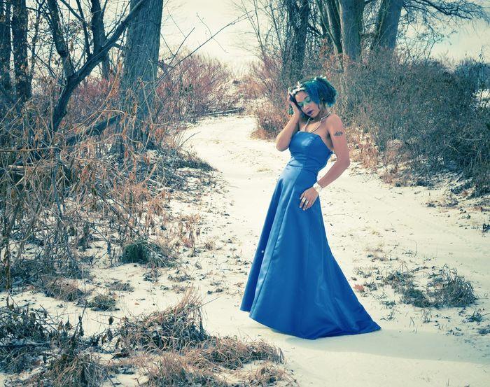 Mrs Freeze Winter Winter Wonderland Blue Blue Dress Snow Forest Trees Path Gown Dress Fashion Fantasy Fantasy Edits Frozen