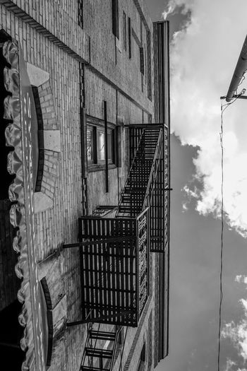 old fire escape Blackandwhite Monochrome Steps And Staircases Architecture Built Structure Building Exterior Sky Stairs Steps Stairway Railing Emergency Exit Run-down Residential Structure